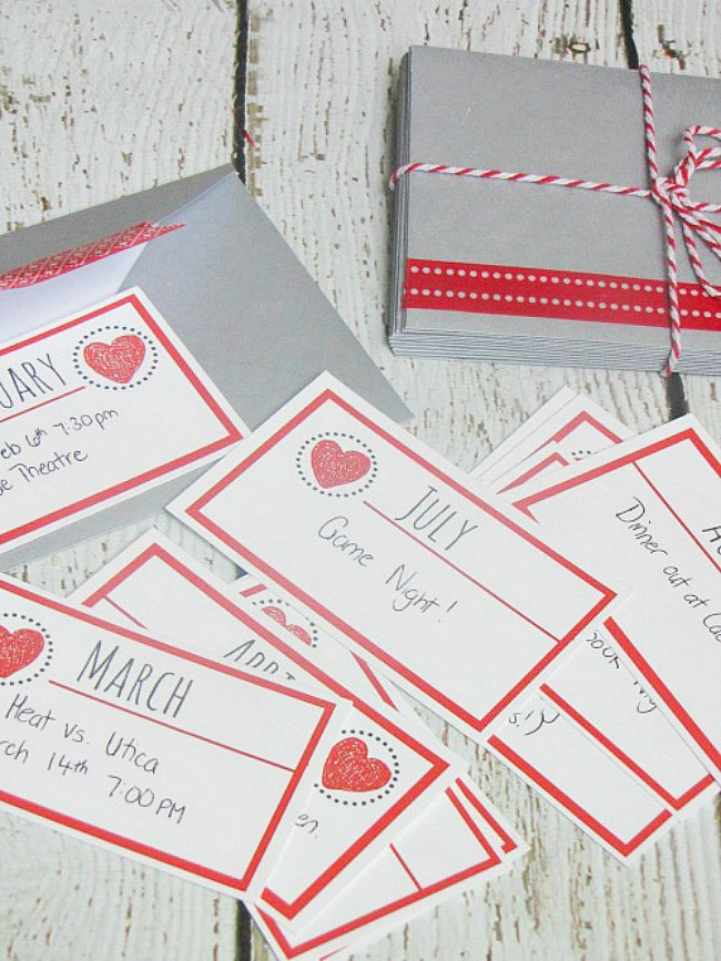 12 nights of dates Valentine's Day gift cards.
