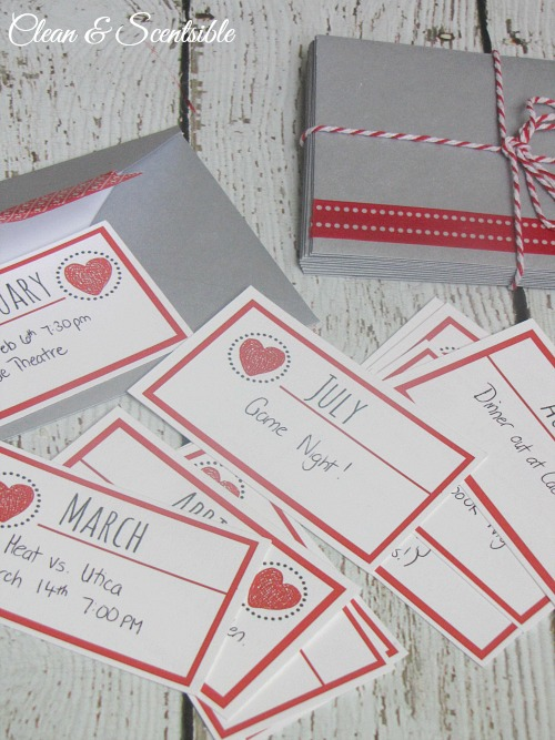 This is an awesome idea for a Valentine's Day gift idea !  Prepare 12 date nights for your loved one - one for each month throughout the year.  Free printables included!