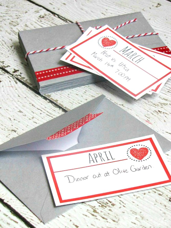 Valentine's Day gift idea with printable date night cards.