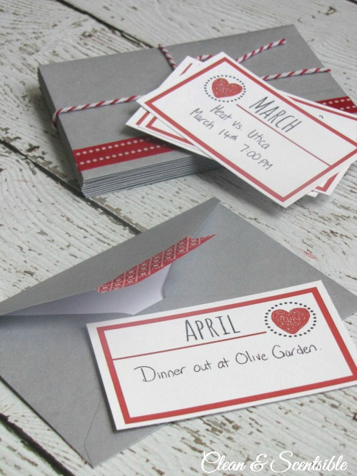 This is an awesome Valentine's Day gift idea!  Prepare 12 date nights for you and your loved one - one for each month.  Free printables included!
