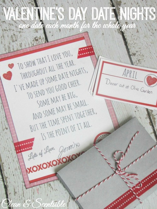 This is an awesome gift idea for Valentine's Day - Prepare 12 date nights for your loved one to do together throughout the year - one for each month!  Printables included.