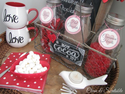 Valentine's Day hot chocolate bar.  SO cute!