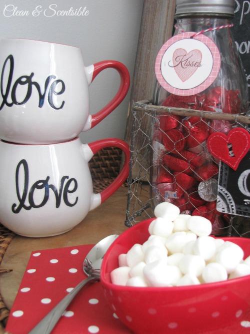 Valentine's Day hot chocolate bar.