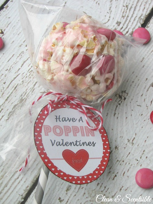 Valentine's Day popcorn pops and free Valentine's Day tag printables.