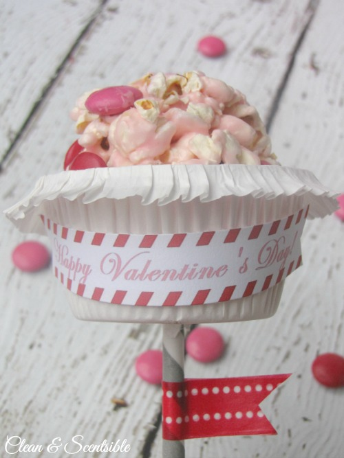 Valentine's Day Popcorn Balls and free Valentine's Day printable tags.