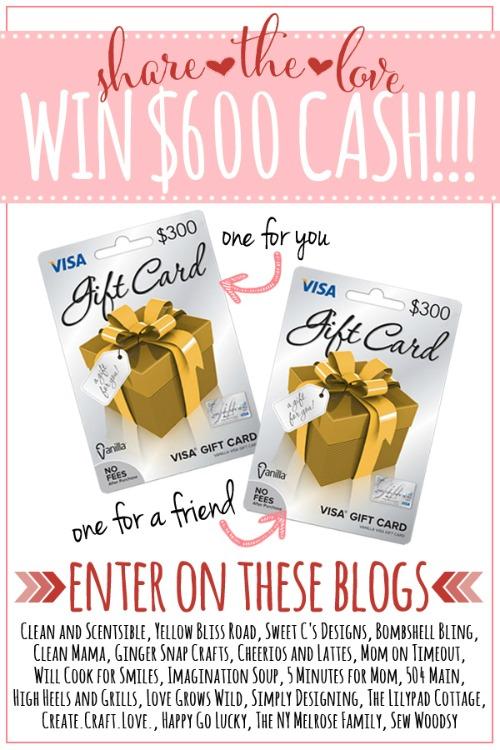 Visa Gift card giveaway - win $600 in Visa gift cards!