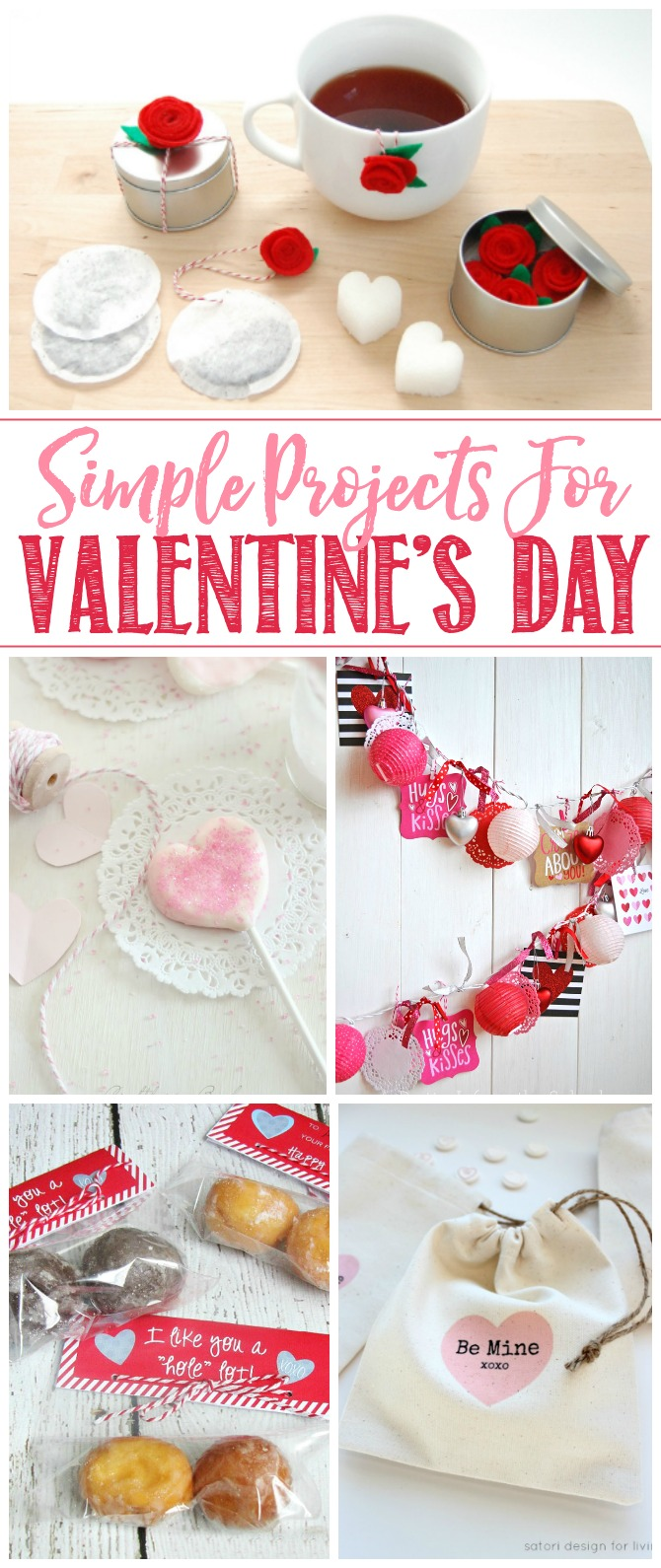 Collage of simple Valentine's Day projects.