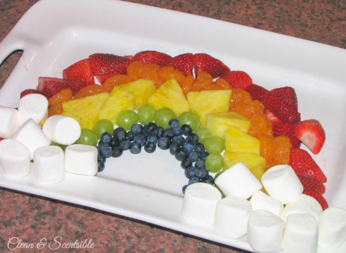St. Patrick's Day Rainbow Fruit Platter and Chocolate Fondue