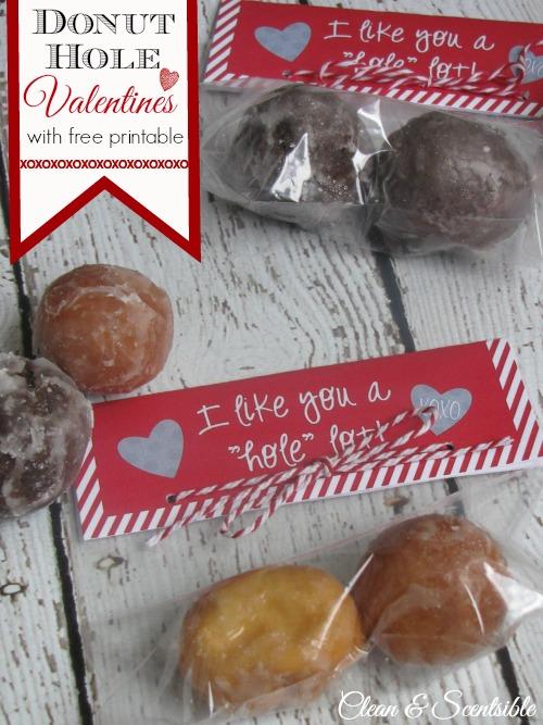 """I Like You A """"Hole"""" Lot donut hole treat toppers with free printable."""