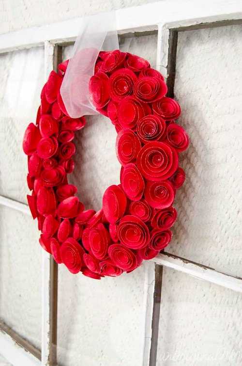 Valentine's Day Rosette Wreath.