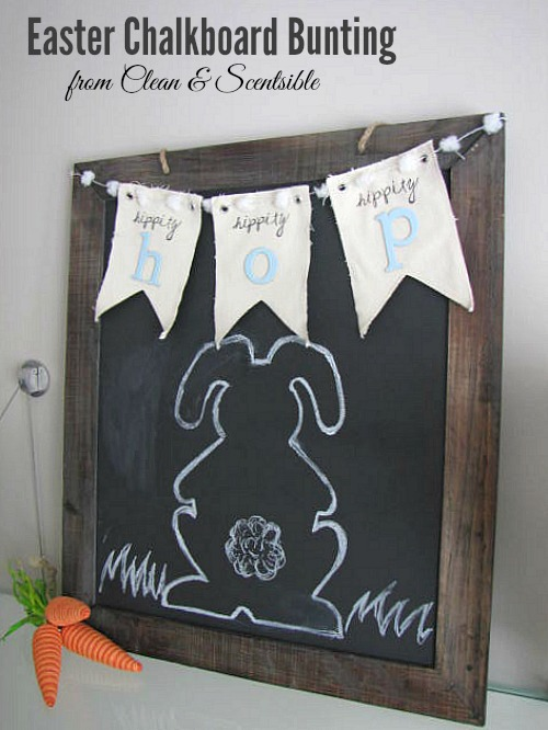 Cute Easter chalkboard and bunting.