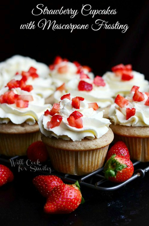 Strawberry Cupcakes with Mascarpone frosting.