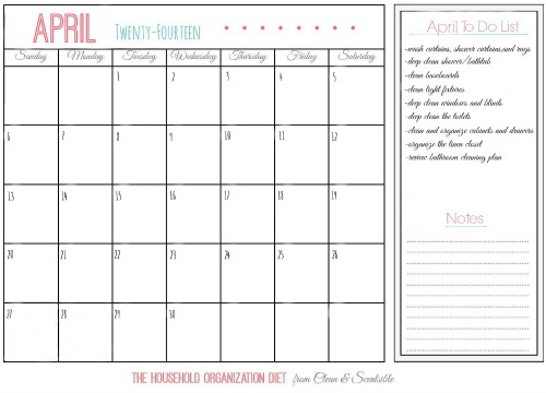 April Calendar for The Household Organization Diet.  Get those bathrooms cleaned and organized!