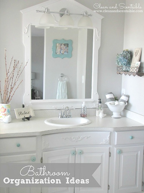 Lots of great bathroom organization ideas!