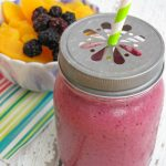 Blackberry Peach Smoothie. You can always substitute other berries too but the blackberries provide a nice tart taste so it is not too sweet.