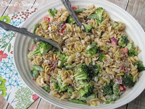 This fresh vegetable pasta salad is so easy to make and perfect for summer BBQs!