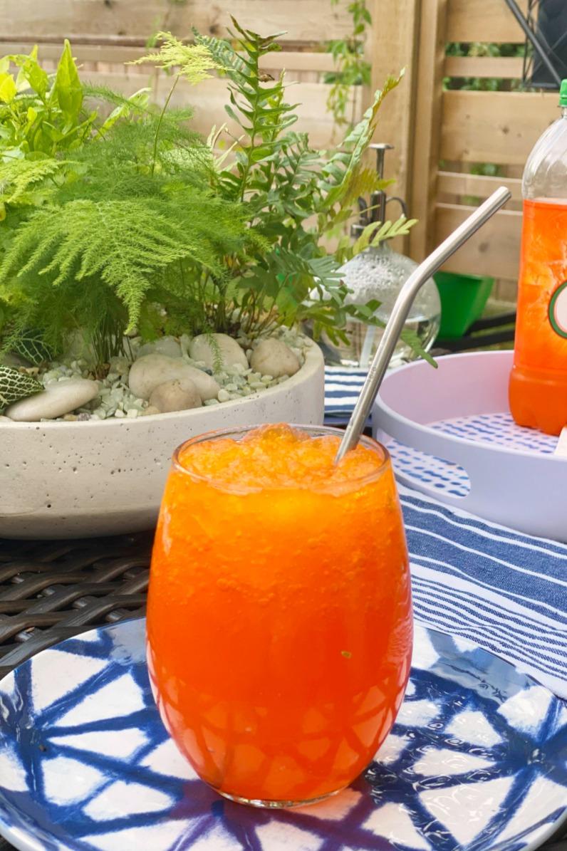 DIY Slurpees using orange soda.