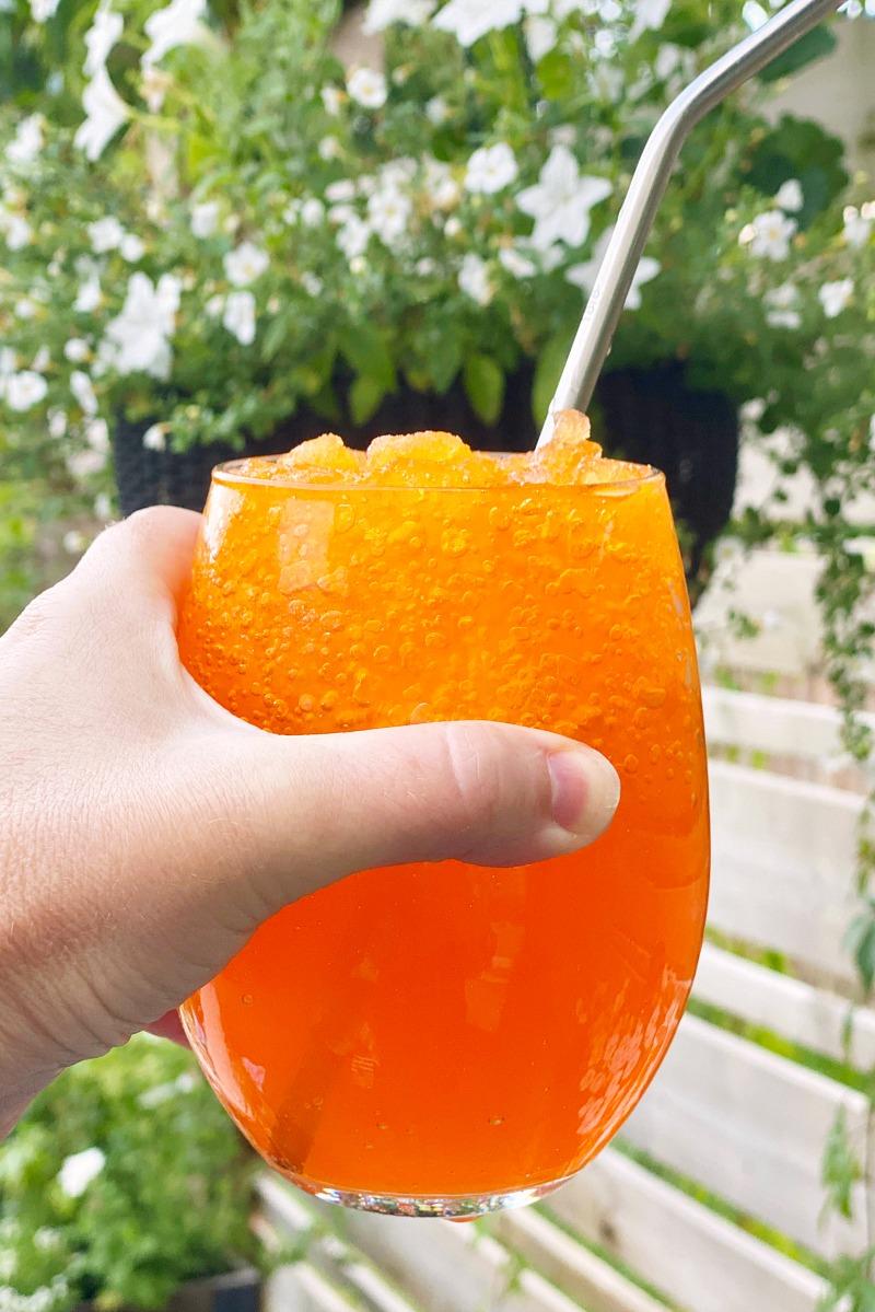 DIY slurpees made with orange soda.