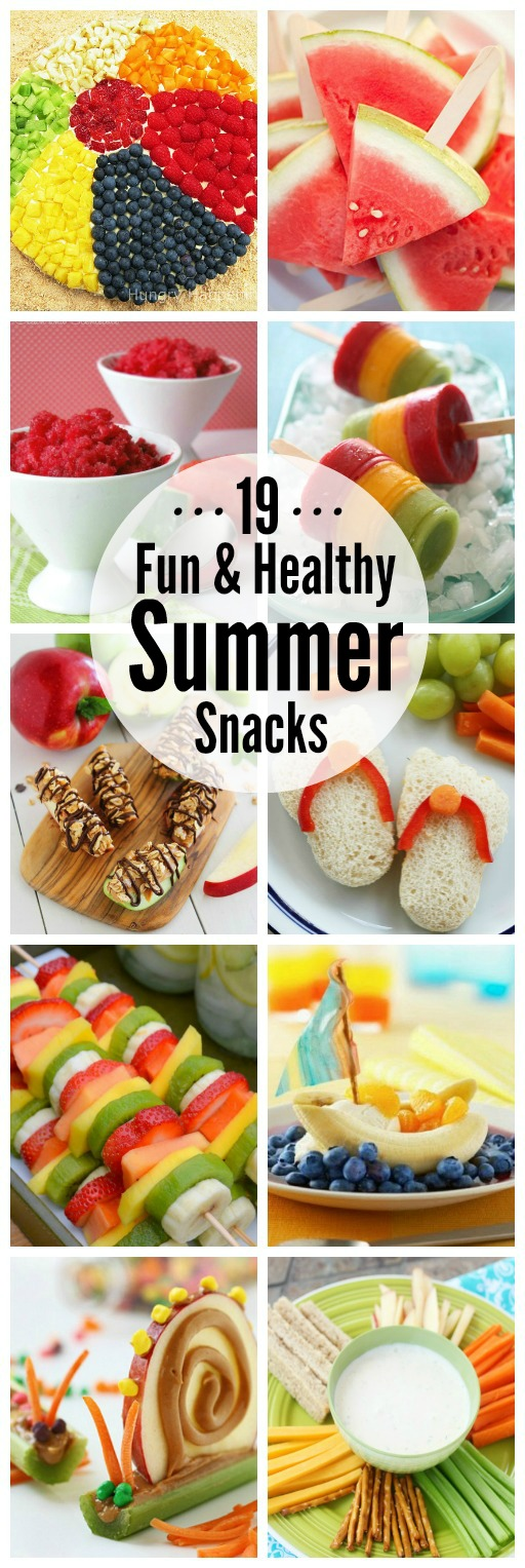 Collection of fun and healthy summer snack ideas.
