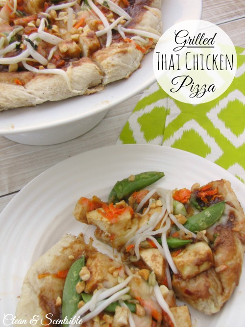 Grilled Thai Chicken Pizza.  This has the best peanut sauce ever!
