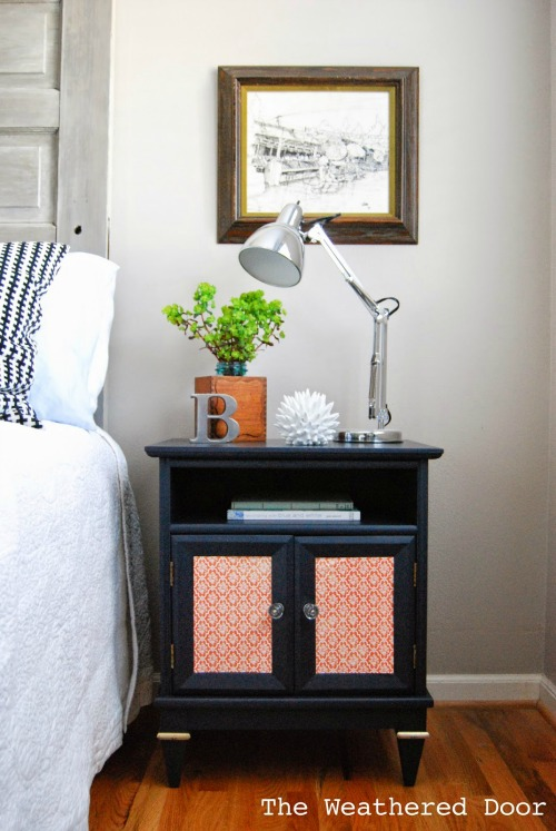Navy papered nightstand WD-11