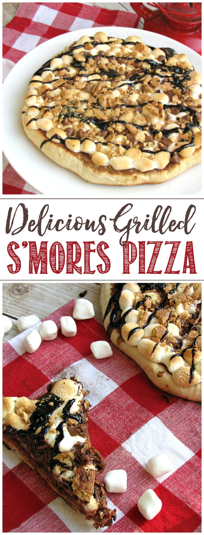 Grilled s'mores pizza. Refrigerated pizza dough grilled on the BBQ and topped with nutella, marshmallows, graham crackers and drizzled with chocolate sauce.