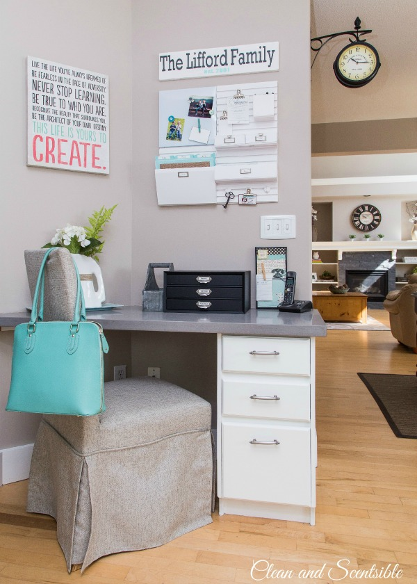 Pretty kitchen command centre - keep your paperwork organized and your kitchen counters clutter-free!