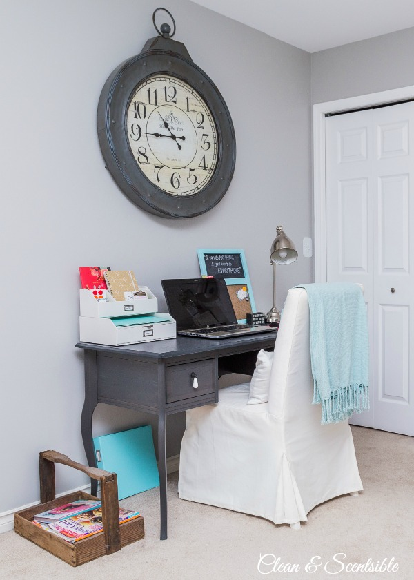 Small organized office space in master bedroom.