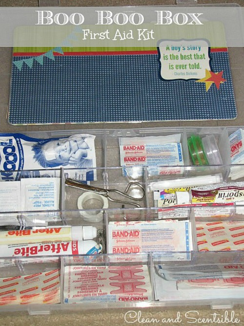 Create a portable first aid - perfect for summer day trips and camping trips!