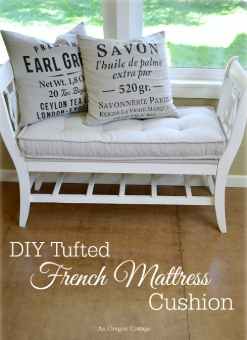 DIY Tufted French Mattress Cushion and lots of other summer project ideas.