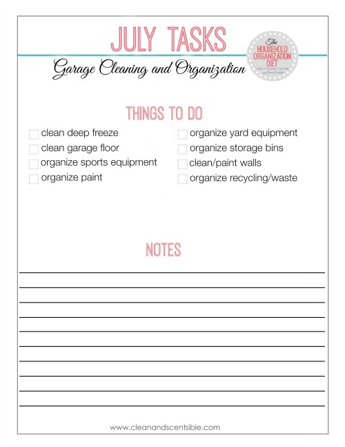 Garage Organization Checklist - lots of great ideas for organizing the garage!