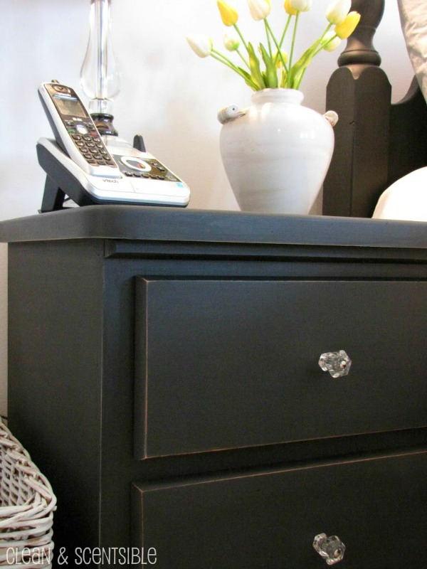 Annie Sloan Chalk Paint in Graphite with clear drawer pulls.