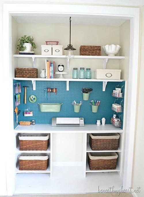 Great ideas on how to use pegboard to store and organize your supplies!