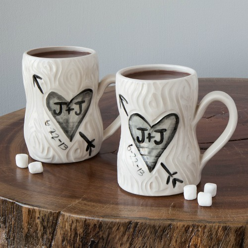 Personalized faux bois mugs for wedding gifts.
