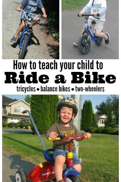 Great tips on how to teach your child to ride a bike! Includes ideas for tricycles, balance bikes, and two wheelers.