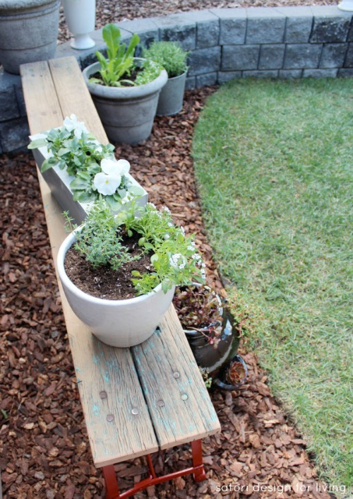 Recycle an old bench to use as a container garden.  Lots of other summer projects too!