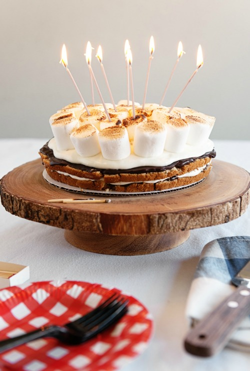 S'mores cake with candles.