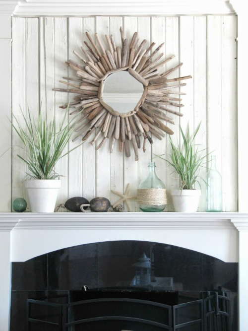 Barn wood mantel and lots of other summer projects.