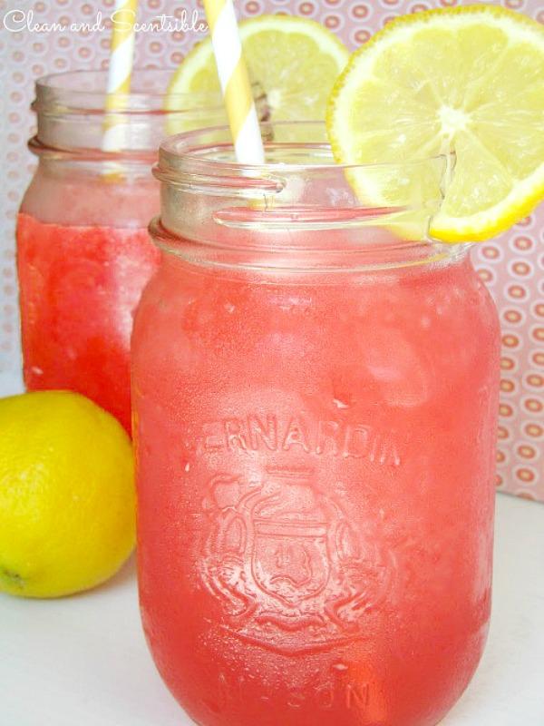 Cherry raspberry lemonade slushie.