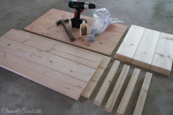 Materials for a DIY wooden crate.