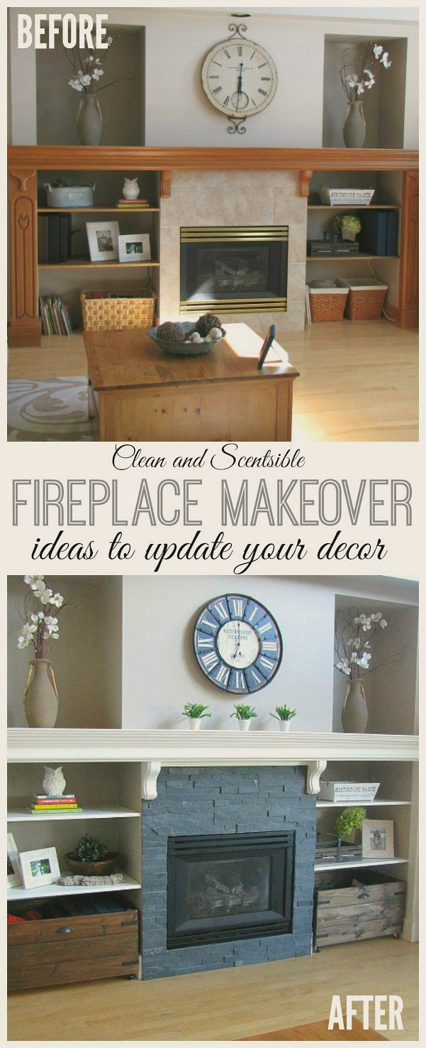 Great ideas for updating your fireplace. // cleanandscentsible.com