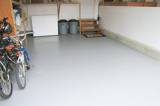 Painted garage floor.