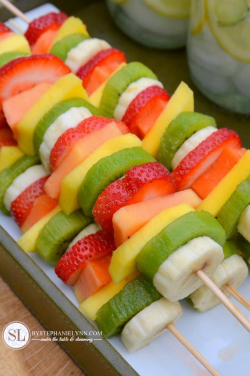 Healthy Summer Snack Ideas. Colorful fruit kabobs for summer.