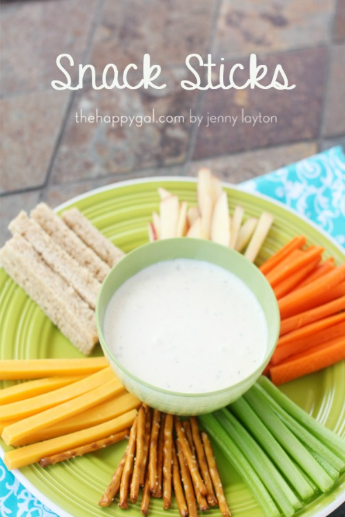 Healthy snack sticks using cheese, bread, pretzel sticks and veggies.