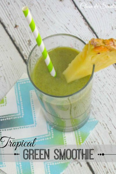 This tropical green smoothie has a ton of nutrients while still being tasty! // cleanandscentsible.com