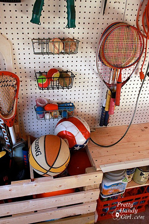 Sports equipment organization and tons of other awesome garage organization ideas!