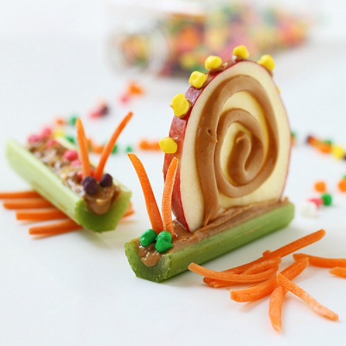 Apple and celery snail.