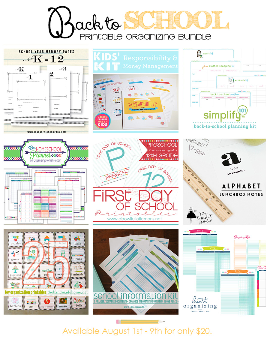 Get organized for back to school with this amazing printable package!