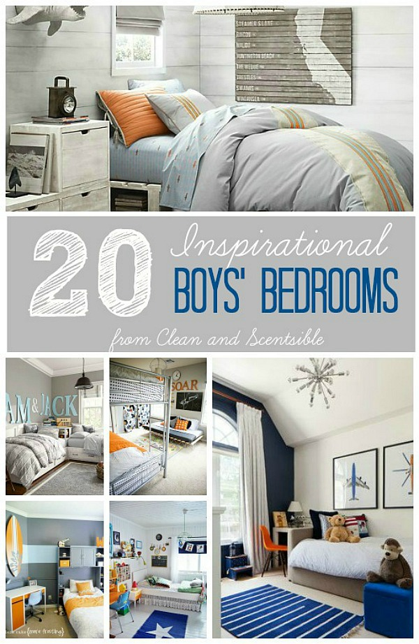 20 Amazing and inspirational boys' bedrooms.  Love these! // cleanandscentsible.com