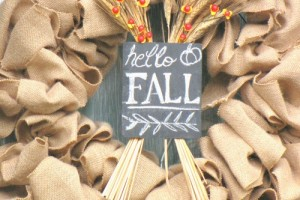 Easy Burlap Fall Wreath. This could easily be changed up for any season! // cleanandscentsible.com
